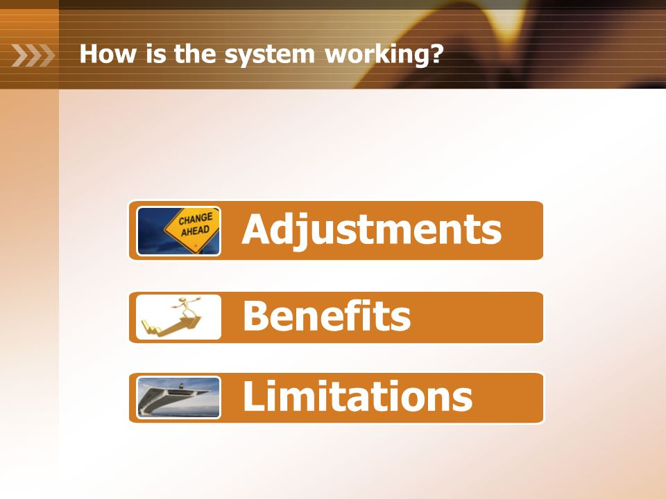 How is the system working Adjustments Benefits Limitations