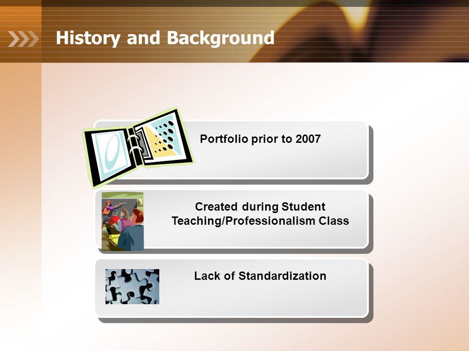 History and Background Portfolio prior to 2007 Created during Student Teaching/Professionalism Class Lack of Standardization