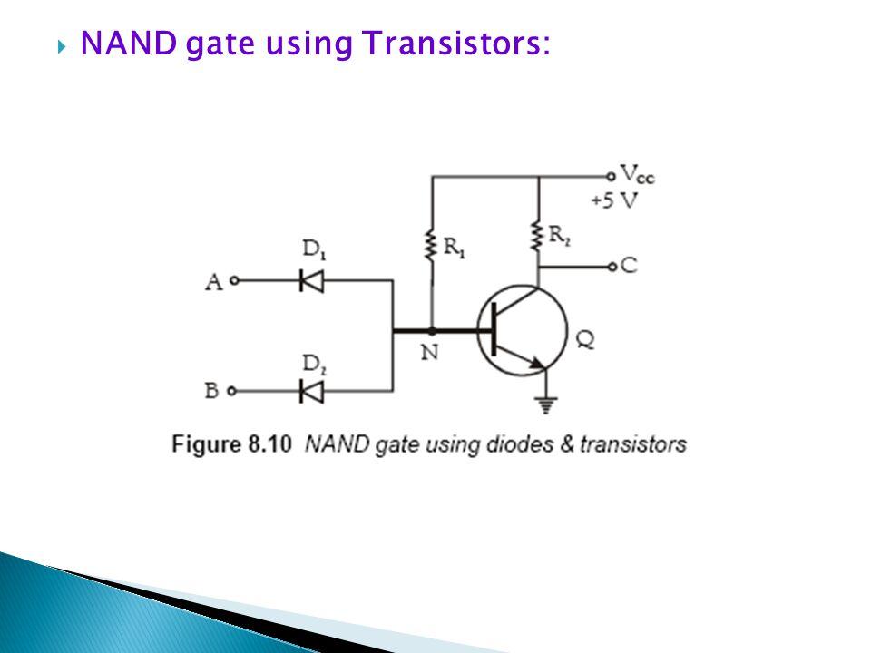 NAND gate using Transistors: