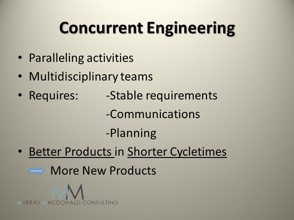 Concurrent Engineering Paralleling activities Multidisciplinary teams Requires:-Stable requirements -Communications -Planning Better Products in Shorter Cycletimes More New Products