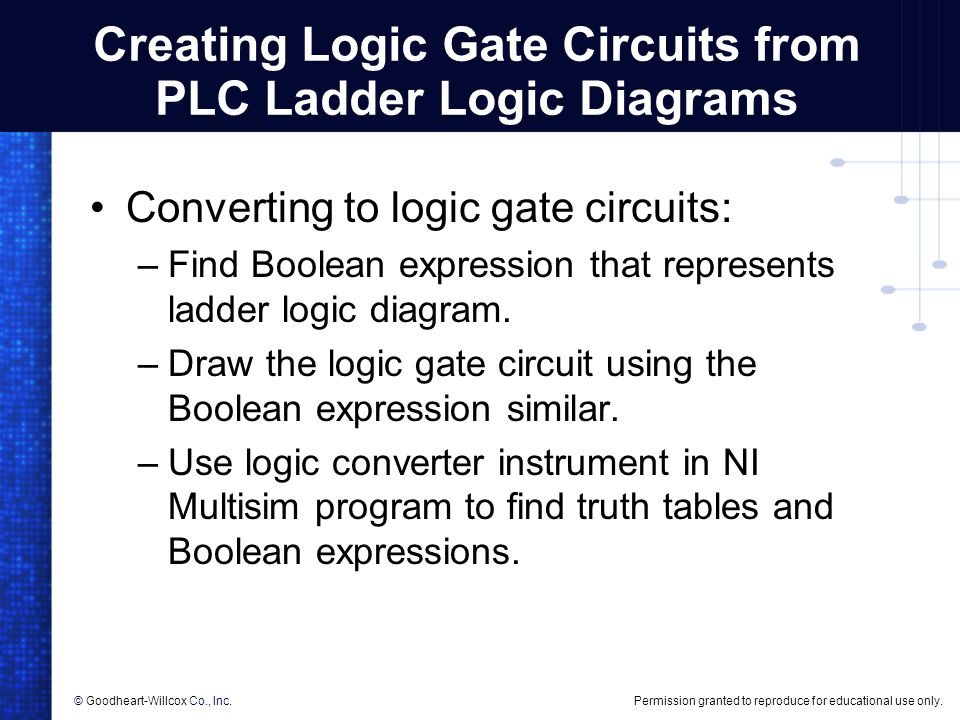 Permission granted to reproduce for educational use only.© Goodheart-Willcox Co., Inc. Creating Logic Gate Circuits from PLC Ladder Logic Diagrams Con