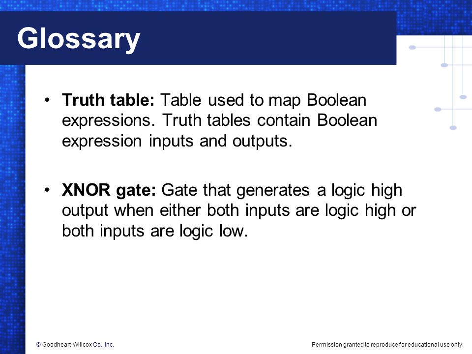 Permission granted to reproduce for educational use only.© Goodheart-Willcox Co., Inc. Glossary Truth table: Table used to map Boolean expressions. Tr