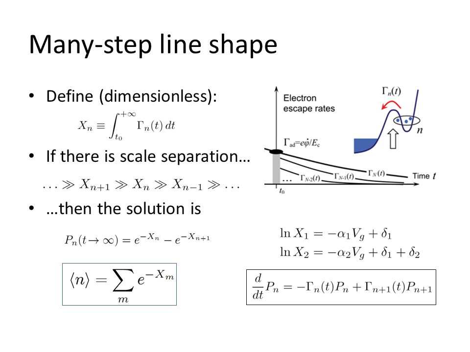 Many-step line shape Define (dimensionless): If there is scale separation… …then the solution is