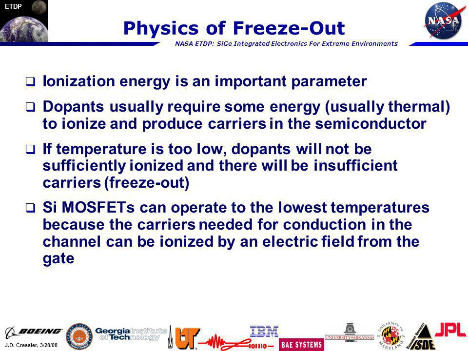 NASA ETDP: SiGe Integrated Electronics For Extreme Environments J.D. Cressler, 3/28/08 ETDP Physics of Freeze-Out Ionization energy is an important pa