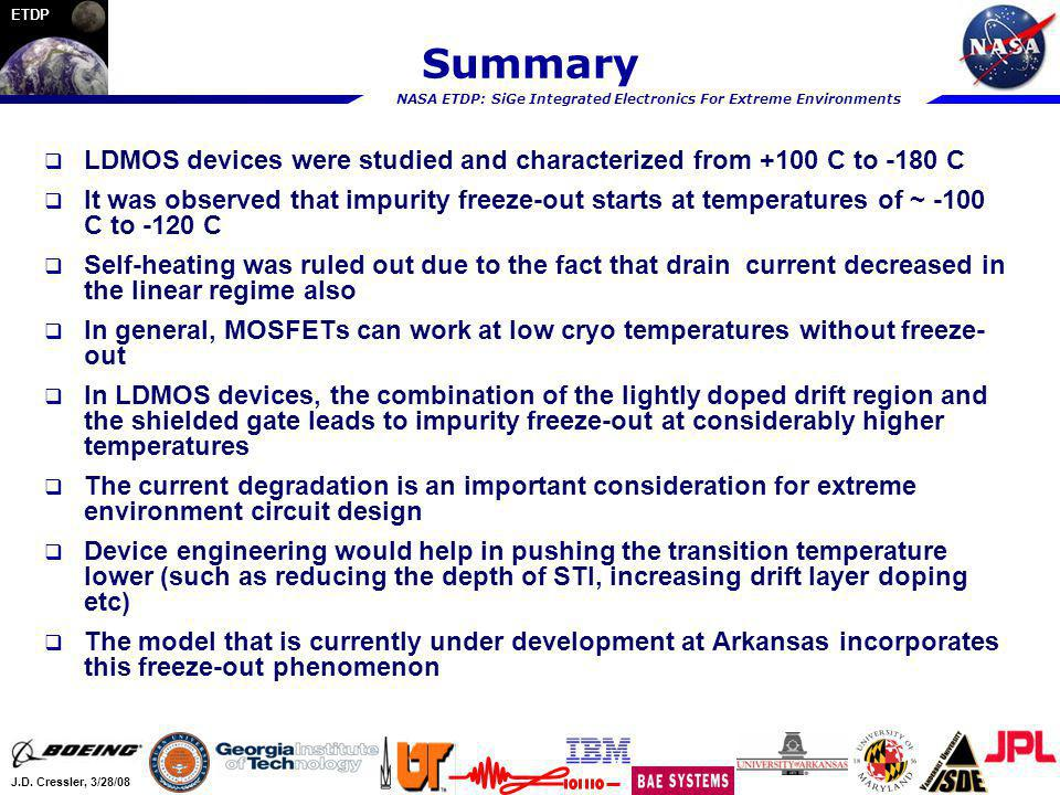 NASA ETDP: SiGe Integrated Electronics For Extreme Environments J.D. Cressler, 3/28/08 ETDP Summary LDMOS devices were studied and characterized from