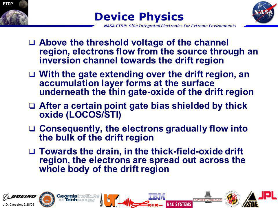 NASA ETDP: SiGe Integrated Electronics For Extreme Environments J.D. Cressler, 3/28/08 ETDP Device Physics Above the threshold voltage of the channel