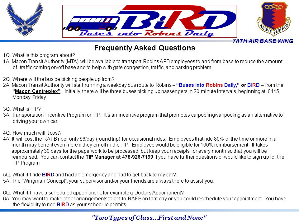 78TH AIR BASE WING Frequently Asked Questions 1Q. What is this program about.