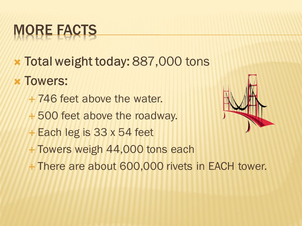 Total weight today: 887,000 tons Towers: 746 feet above the water. 500 feet above the roadway. Each leg is 33 x 54 feet Towers weigh 44,000 tons each