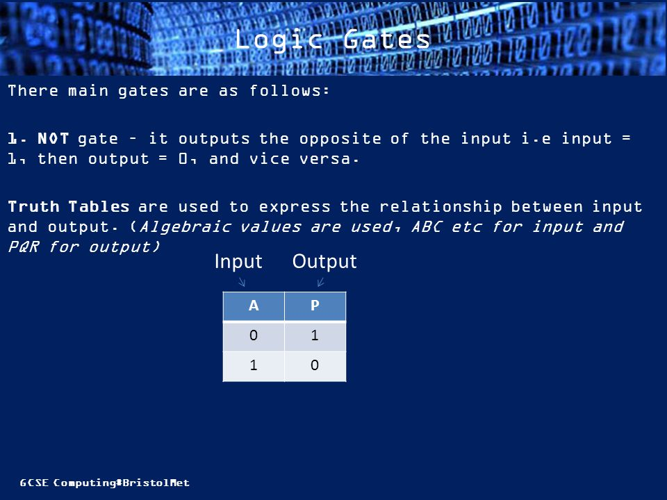 GCSE Computing#BristolMet Logic Gates There main gates are as follows: 1.