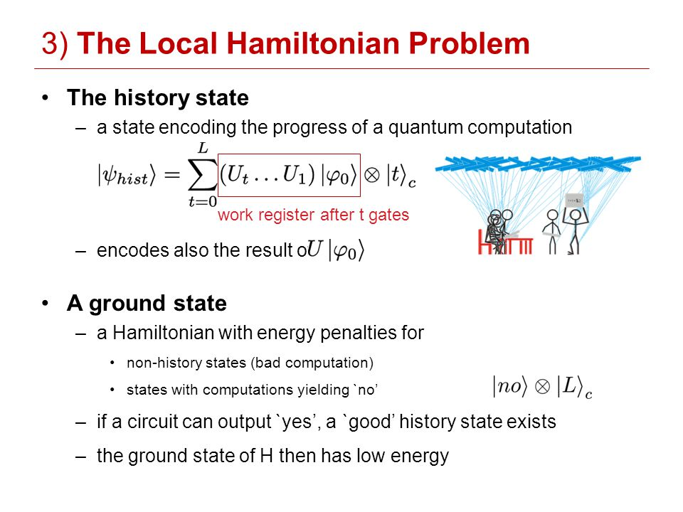 The history state –a state encoding the progress of a quantum computation –encodes also the result of A ground state –a Hamiltonian with energy penalties for non-history states (bad computation) states with computations yielding `no –if a circuit can output `yes, a `good history state exists –the ground state of H then has low energy 3) The Local Hamiltonian Problem work register after t gates