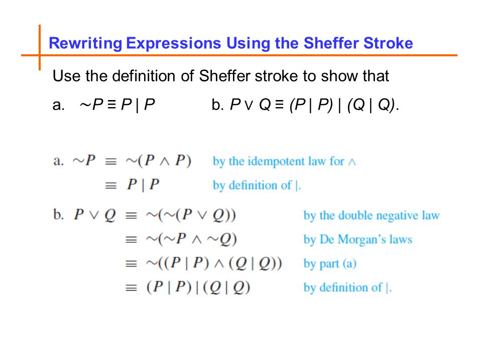 Rewriting Expressions Using the Sheffer Stroke Use the definition of Sheffer stroke to show that a.