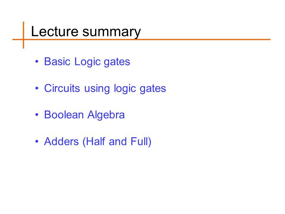 Lecture summary Basic Logic gates Circuits using logic gates Boolean Algebra Adders (Half and Full)
