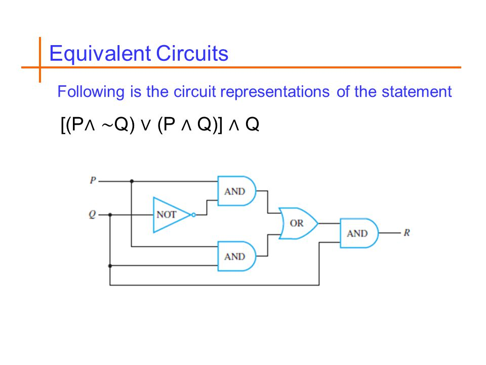 Equivalent Circuits Following is the circuit representations of the statement [(P Q) (P Q)] Q