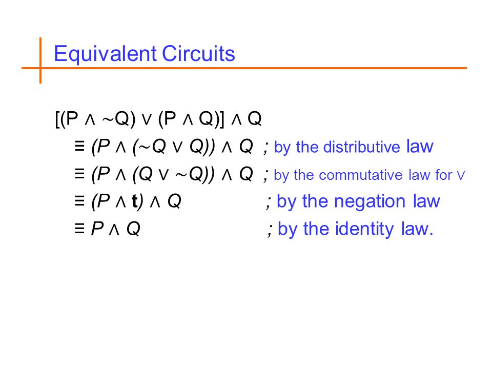 Equivalent Circuits [(P Q) (P Q)] Q (P ( Q Q)) Q ; by the distributive law (P (Q Q)) Q ; by the commutative law for (P t) Q ; by the negation law P Q ; by the identity law.