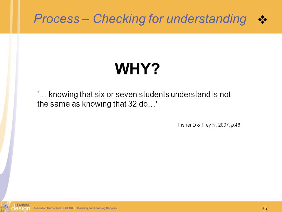 Process – Checking for understanding WHY? '… knowing that six or seven students understand is not the same as knowing that 32 do…' Fisher D & Frey N,