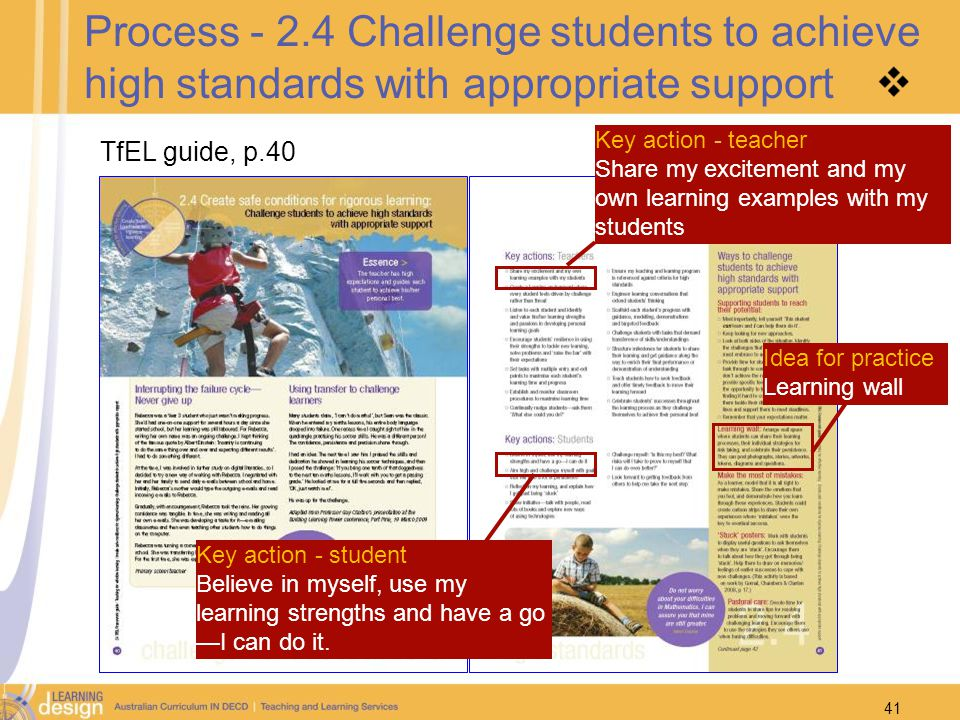 41 Process - 2.4 Challenge students to achieve high standards with appropriate support TfEL guide, p.40 Key action - teacher Share my excitement and m