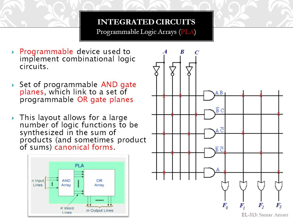 INTEGRATED CIRCUITS Programmable Array Logic (PAL) EL-313: Samar Ansari Programmable device used to implement combinational logic circuits.