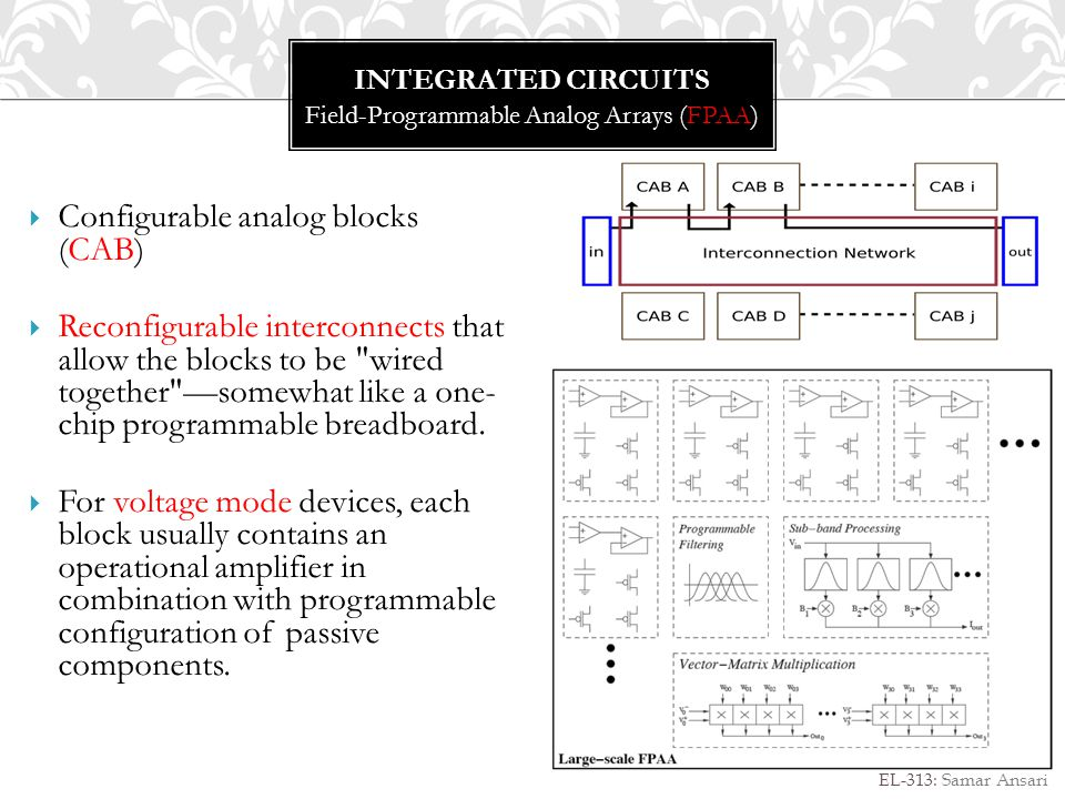 INTEGRATED CIRCUITS ASIC Design EL-313: Samar Ansari An application-specific integrated circuit (ASIC) is an integrated circuit customized for a particular use, rather than intended for general-purpose use.