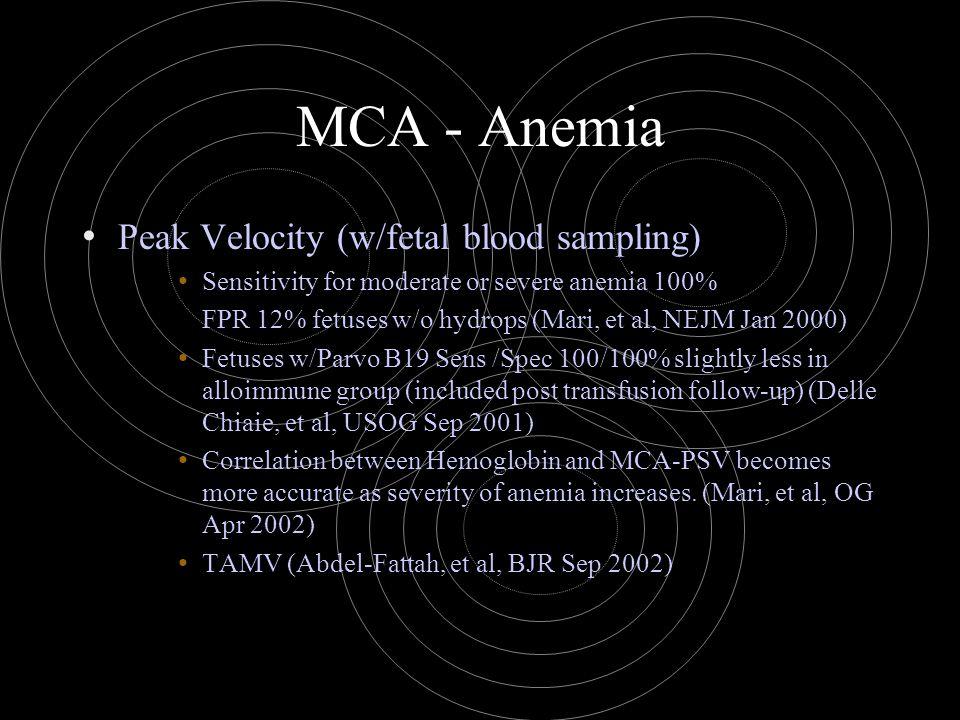 MCA - Anemia Peak Velocity (w/fetal blood sampling) Sensitivity for moderate or severe anemia 100% FPR 12% fetuses w/o hydrops (Mari, et al, NEJM Jan