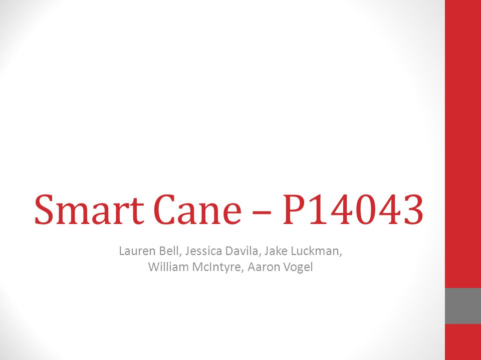 Smart Cane – P14043 Lauren Bell, Jessica Davila, Jake Luckman, William McIntyre, Aaron Vogel