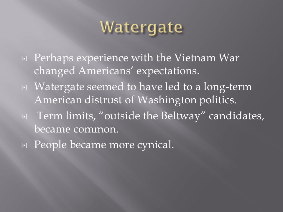 Perhaps experience with the Vietnam War changed Americans expectations.
