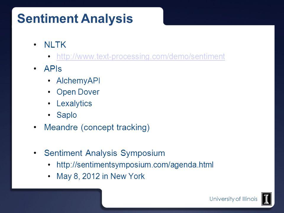 University of Illinois Sentiment Analysis NLTK http://www.text-processing.com/demo/sentiment APIs AlchemyAPI Open Dover Lexalytics Saplo Meandre (conc