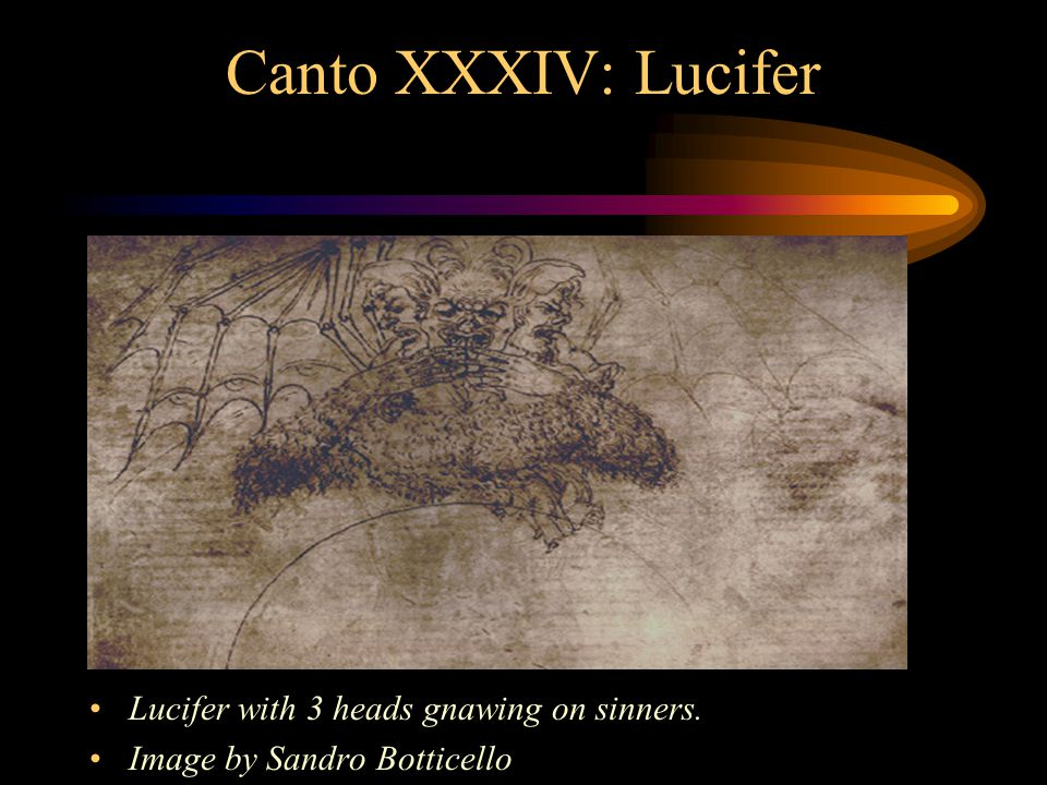 Canto XXXIV: Lucifer Lucifer with large bat type wings in the frozen lake of Cocytus.