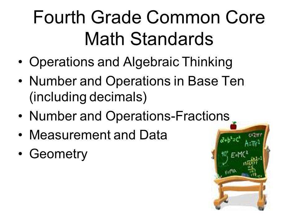 Fourth Grade Common Core Math Standards Operations and Algebraic Thinking Number and Operations in Base Ten (including decimals) Number and Operations-Fractions Measurement and Data Geometry