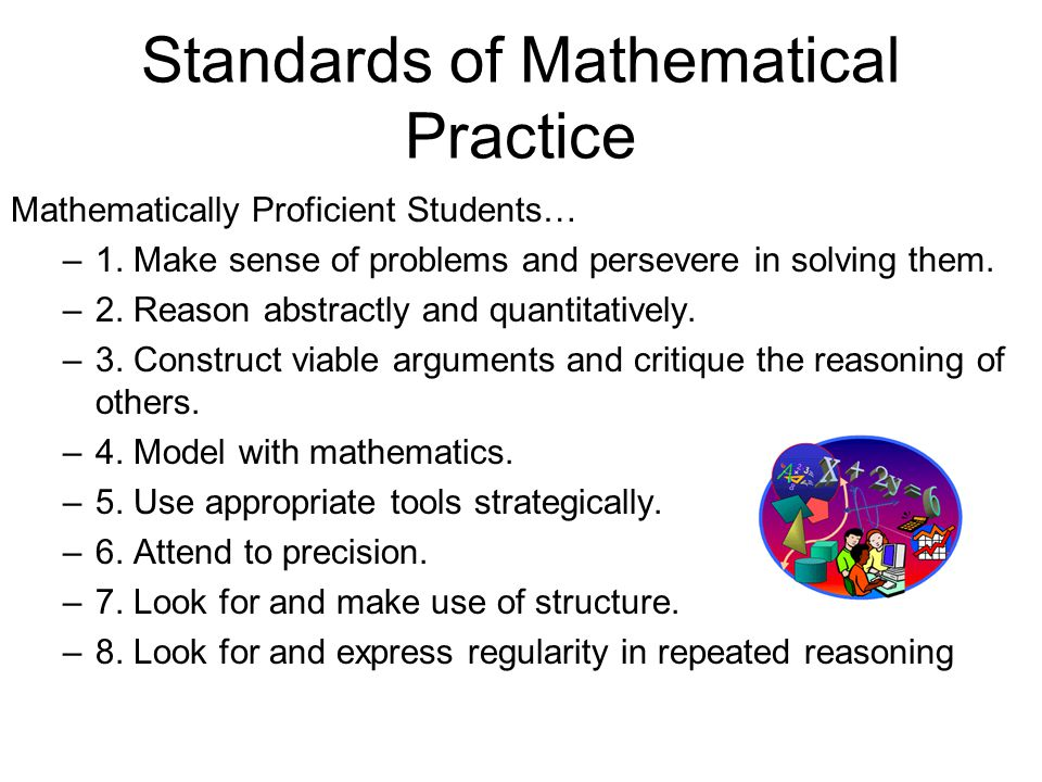 Standards of Mathematical Practice Mathematically Proficient Students… –1.