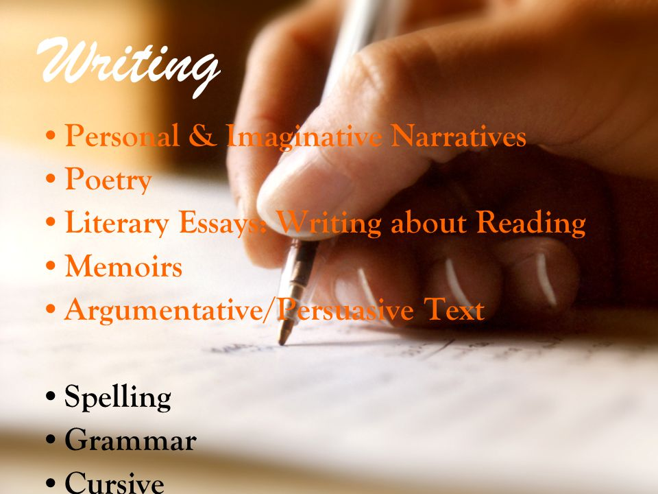 Writing Personal & Imaginative Narratives Poetry Literary Essays: Writing about Reading Memoirs Argumentative/Persuasive Text Spelling Grammar Cursive