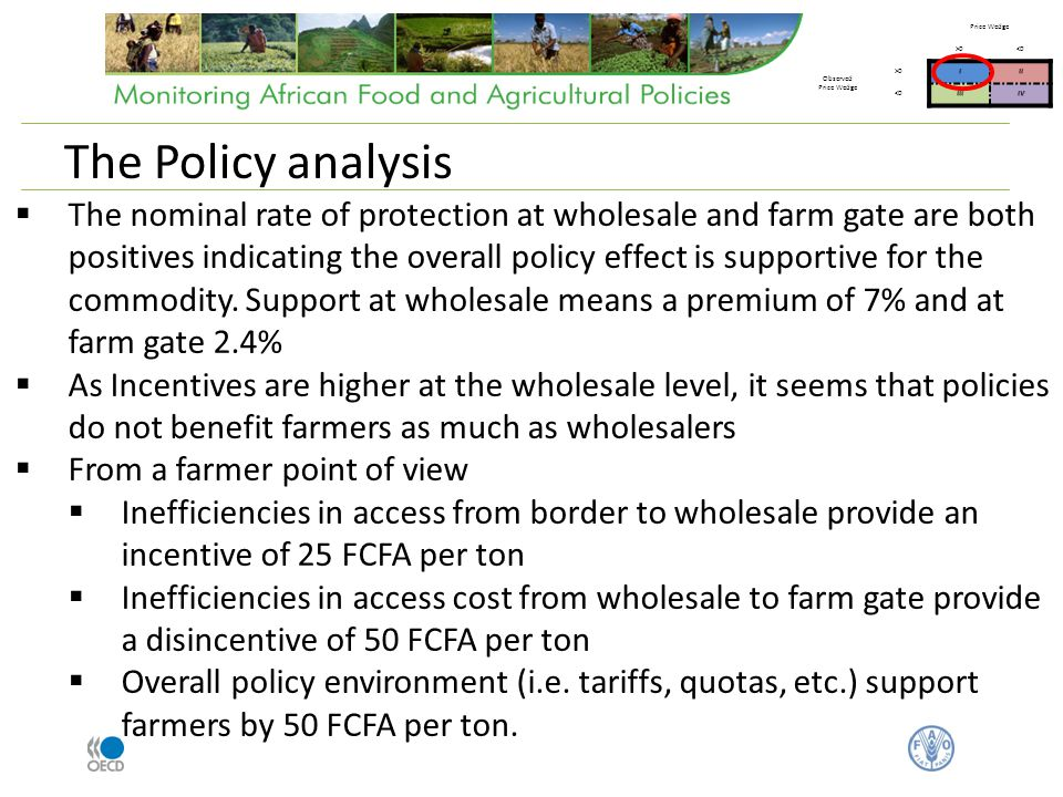 The nominal rate of protection at wholesale and farm gate are both positives indicating the overall policy effect is supportive for the commodity.