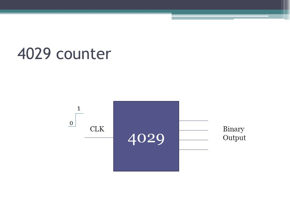 4029 counter 4029 Binary Output CLK