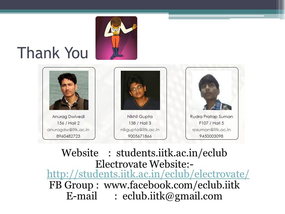 Thank You Website : students.iitk.ac.in/eclub Electrovate Website:- http://students.iitk.ac.in/eclub/electrovate/ http://students.iitk.ac.in/eclub/electrovate/ FB Group : www.facebook.com/eclub.iitk E-mail : eclub.iitk@gmail.com