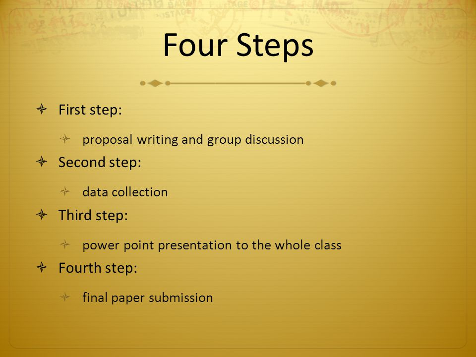 Four Steps First step: proposal writing and group discussion Second step: data collection Third step: power point presentation to the whole class Fourth step: final paper submission