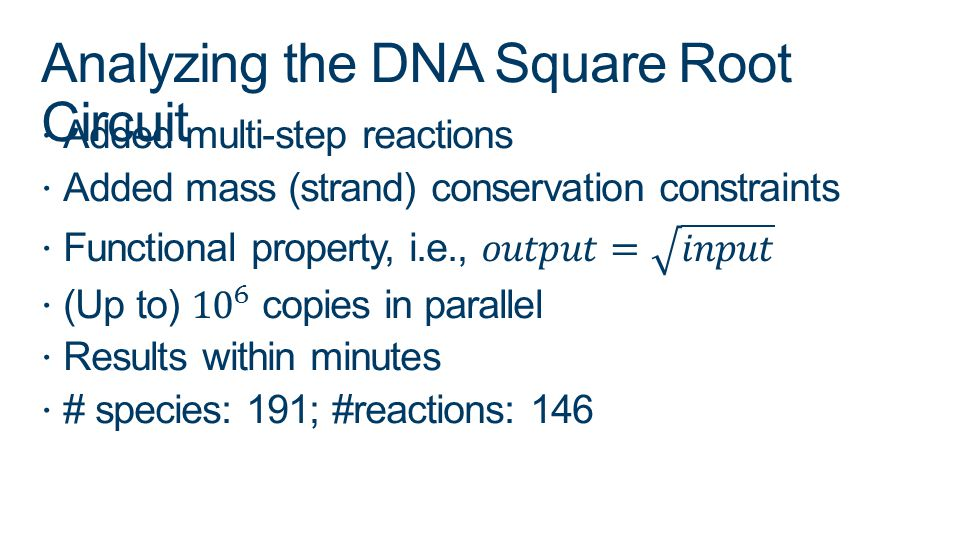 Analyzing the DNA Square Root Circuit