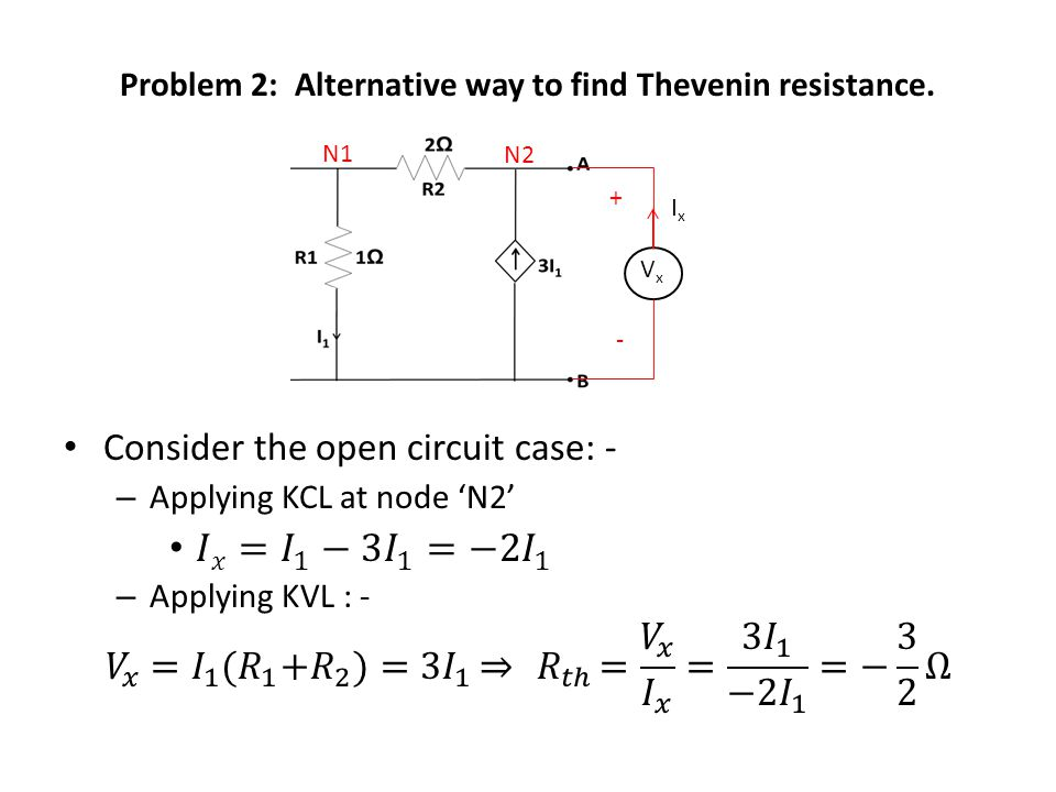 Problem 2: Alternative way to find Thevenin resistance. N1 VxVx + - IxIx N2
