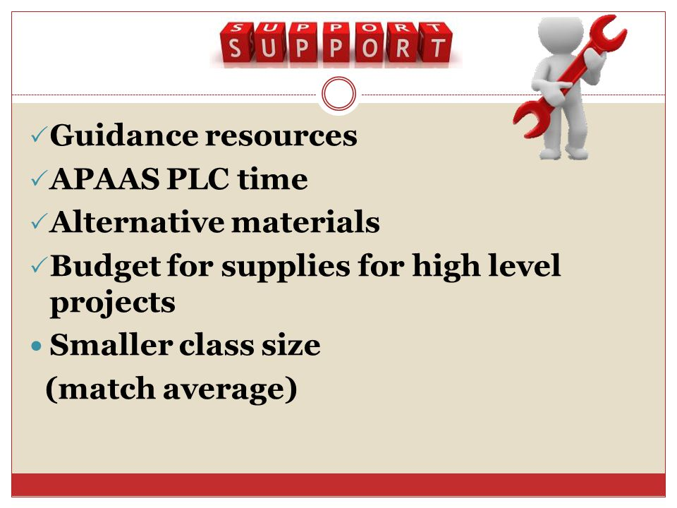 Guidance resources APAAS PLC time Alternative materials Budget for supplies for high level projects Smaller class size (match average)