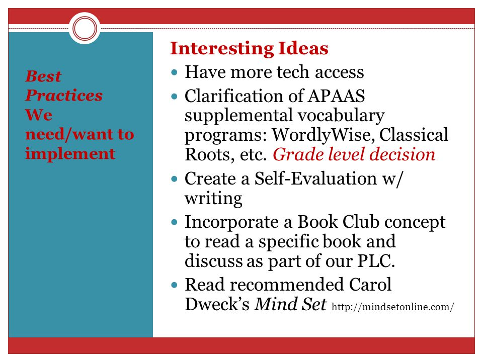 Best Practices We need/want to implement Interesting Ideas Have more tech access Clarification of APAAS supplemental vocabulary programs: WordlyWise, Classical Roots, etc.
