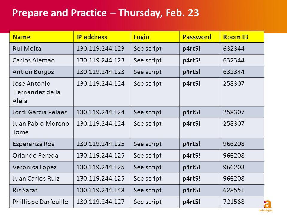 Prepare and Practice – Thursday, Feb.