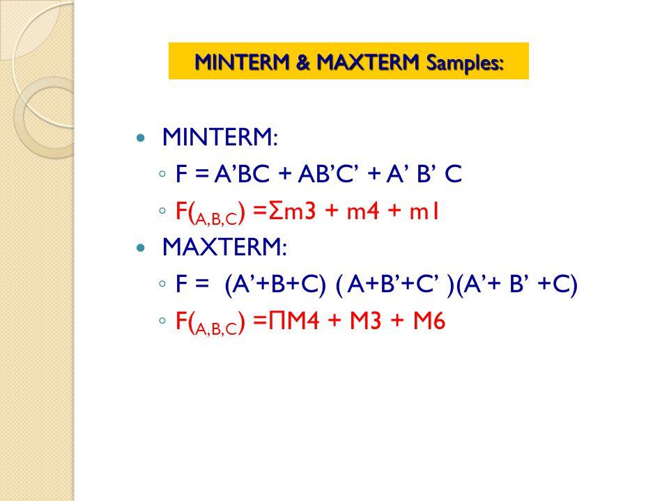 MINTERM: F = ABC + ABC + A B C F( A,B,C ) = Σ m3 + m4 + m1 MAXTERM: F = (A+B+C) ( A+B+C )(A+ B +C) F( A,B,C ) = Π M4 + M3 + M6 MINTERM & MAXTERM Samples: