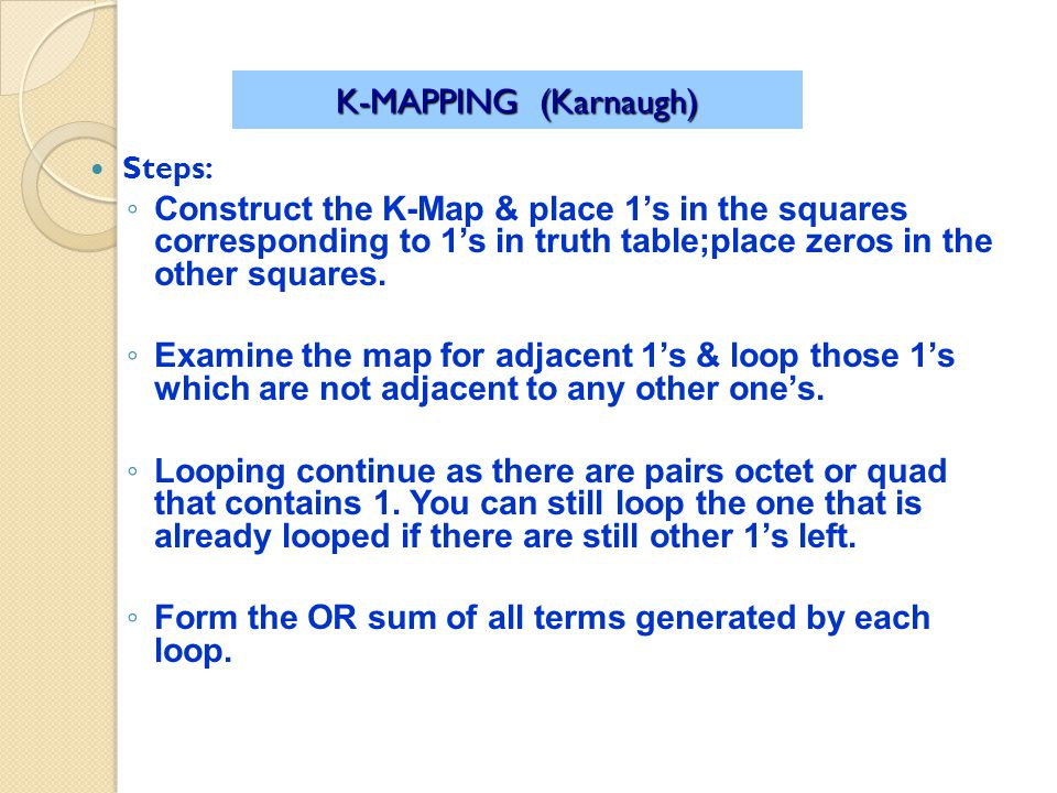 K-MAPPING (Karnaugh) Steps: Construct the K-Map & place 1s in the squares corresponding to 1s in truth table;place zeros in the other squares.