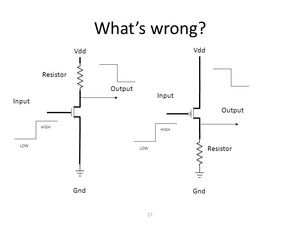 Whats wrong 27 Vdd Gnd Input Output LOW HIGH Vdd Gnd Input Output Resistor LOW HIGH Resistor