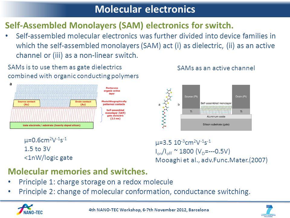 Molecular electronics 4th NANO-TEC Workshop, 6-7th November 2012, Barcelona Self-Assembled Monolayers (SAM) electronics for switch. Self-assembled mol