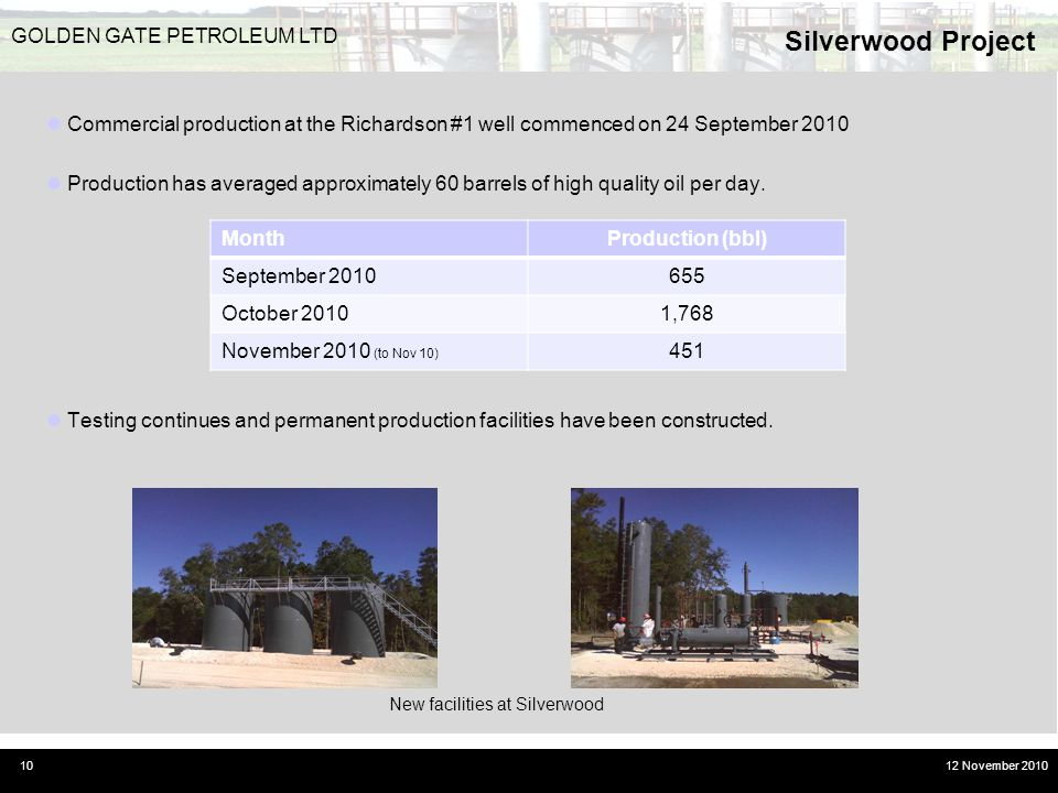 Silverwood Project 10 GOLDEN GATE PETROLEUM LTD 12 November 2010 Commercial production at the Richardson #1 well commenced on 24 September 2010 Produc