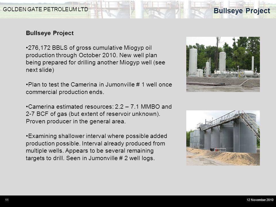 Bullseye Project 11 GOLDEN GATE PETROLEUM LTD 12 November 2010 Bullseye Project 276,172 BBLS of gross cumulative Miogyp oil production through October 2010.