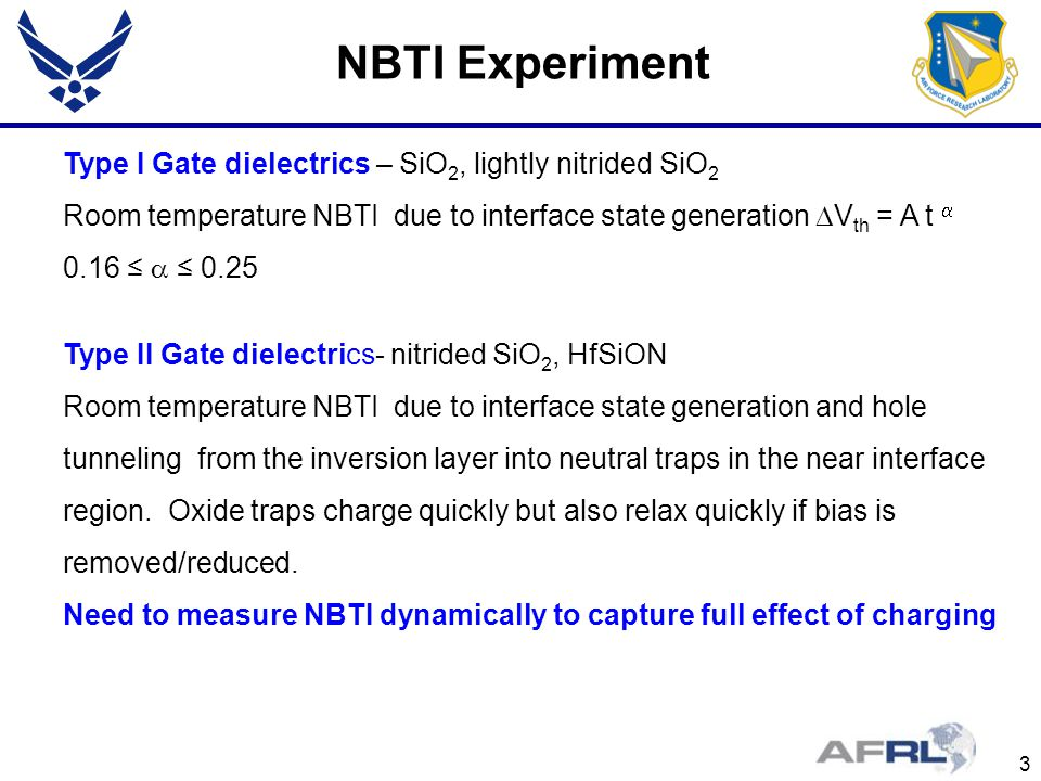 3 NBTI Experiment Type I Gate dielectrics – SiO 2, lightly nitrided SiO 2 Room temperature NBTI due to interface state generation V th = A t 0.16 0.25