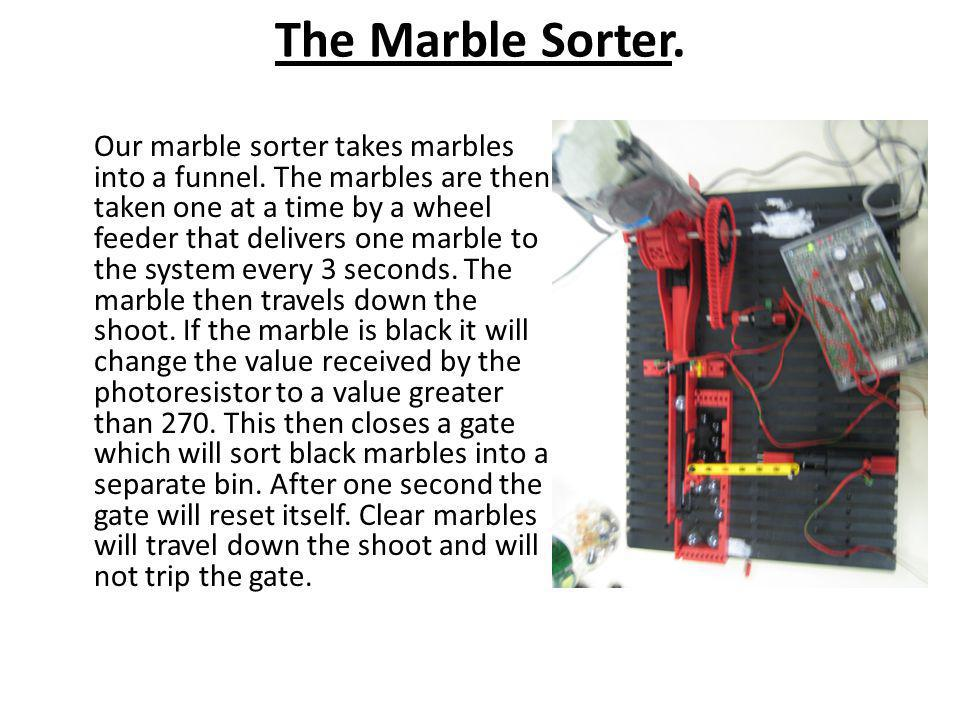The Marble Sorter.Our marble sorter takes marbles into a funnel.