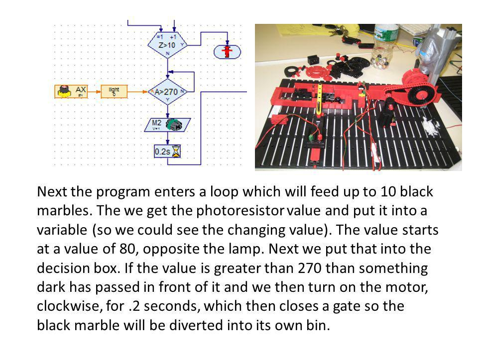 Next the program enters a loop which will feed up to 10 black marbles.