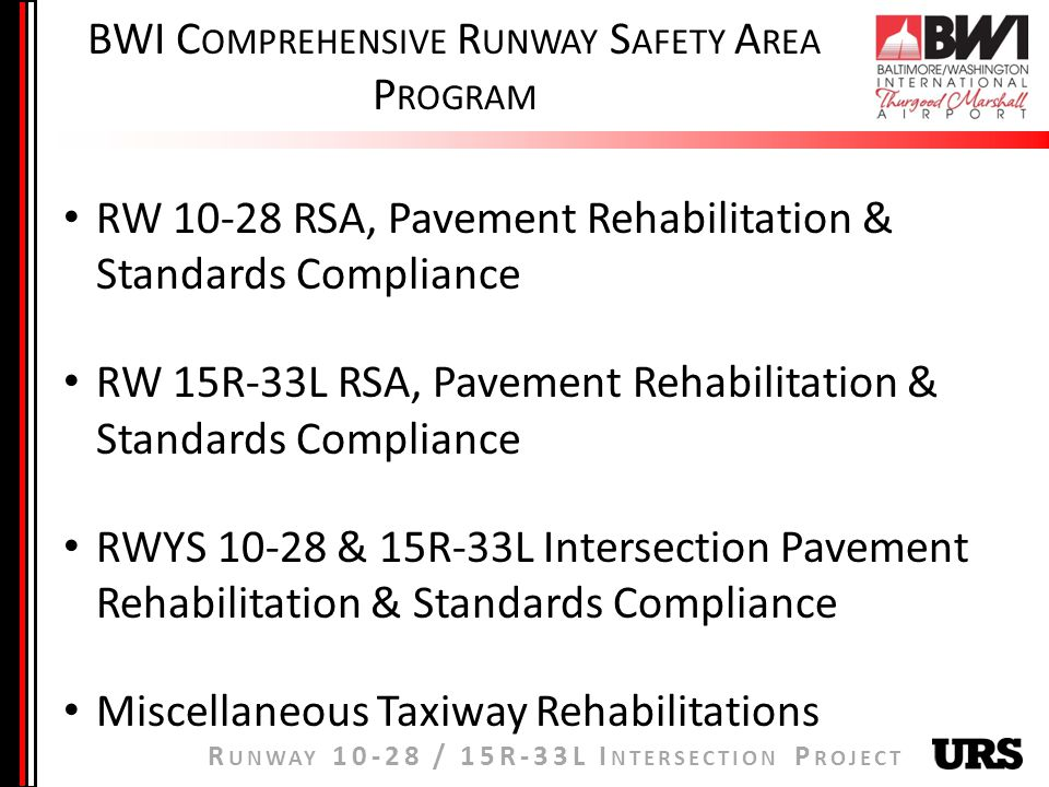 R UNWAY / 15R-33L I NTERSECTION P ROJECT RW RSA, Pavement Rehabilitation & Standards Compliance RW 15R-33L RSA, Pavement Rehabilitation & Standards Compliance RWYS & 15R-33L Intersection Pavement Rehabilitation & Standards Compliance Miscellaneous Taxiway Rehabilitations BWI C OMPREHENSIVE R UNWAY S AFETY A REA P ROGRAM