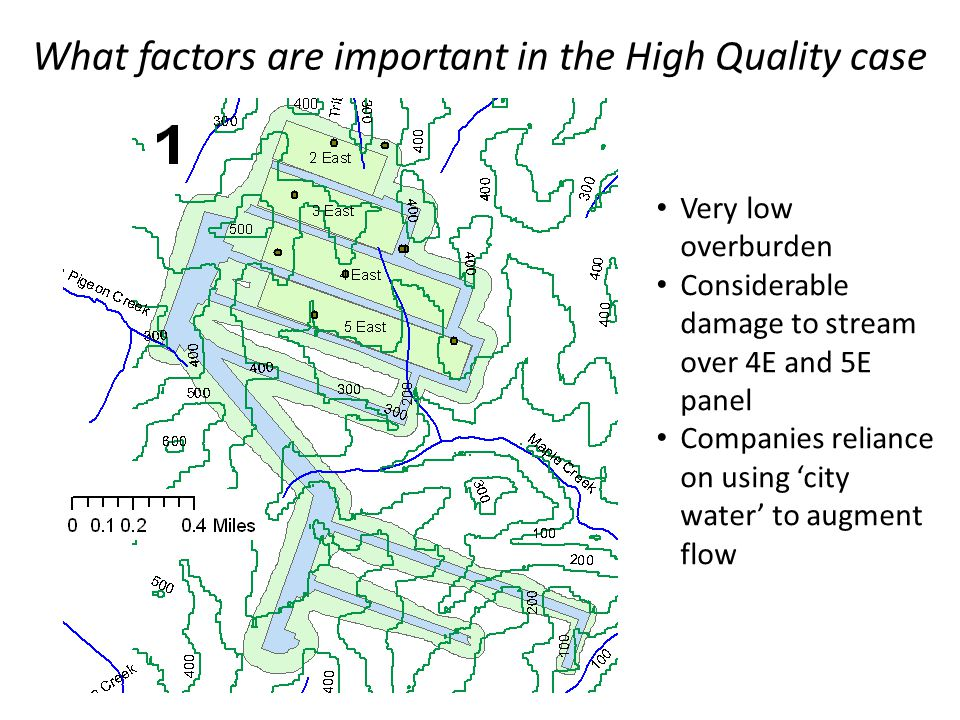 What factors are important in the High Quality case Very low overburden Considerable damage to stream over 4E and 5E panel Companies reliance on using